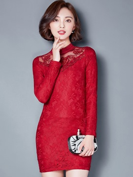 Ericdress Stand Collar Bead Patchwork Mesh Lace Dress