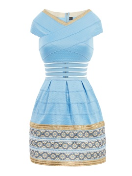 Ericdress Color Block Hollow Patchwork Ball Gown Casual Dress