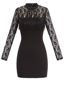 Ericdress Stand Collar Lace Patchwork Bodycon Dress