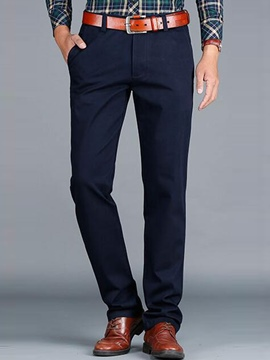 Ericdress Solid Color Straight Slim Men's Pants