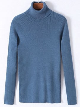 Ericdress Solid Color Turtleneck Pullover Men's Sweater