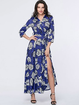 Ericdress Print Lapel Lace-Up Split Maxi Dress