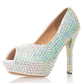 Ericdress White Beads Peep Toe Wedding Shoes