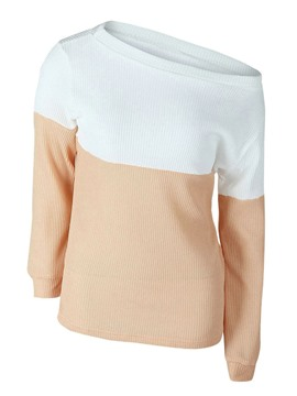 Ericdress Color Block Oblique Collar T-Shirt