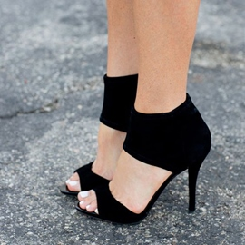 Ericdress Elegant Black Ankle Wrap Stiletto Sandals