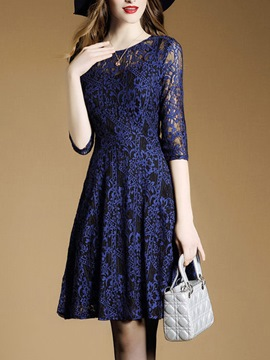 Ericdress See-Through Round Collar Pleated Lace Dress