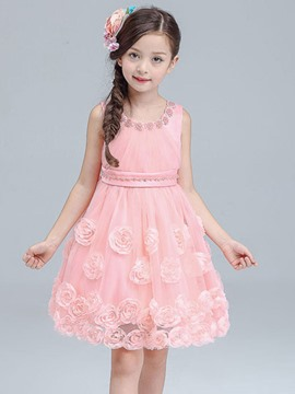 Ericdress Floral Embroidery Bead Sleeveless Girls Dress