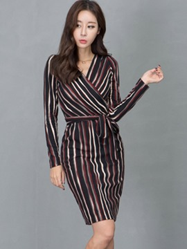 Ericdress Korean Strip Cross Lace-Up Sheath Dress