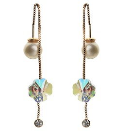 Ericdress Colorful Crystal Flower Pearl Earrings