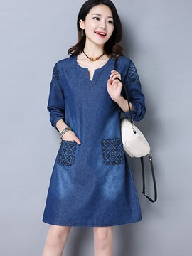 Ericdress Denim Embroidery Pocket Above Knee Casual Dress