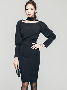 Ericdress Halter Hole Long Sleeve High-Waist Sheath Dress
