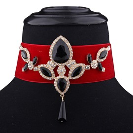 Ericdress Rhinestone Inlaid Wide Velvet Choker Necklace