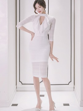 Ericdress Korean Falbala Patchwork Hole See-Through Sheath Dress