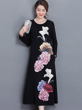 Ericdress Floral Print Pocket Loose Maxi Dress