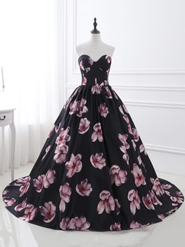 Ericdress Fancy Sweetheart Ball Gown Printed Court Train Quinceanera Dress