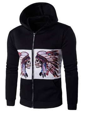 Ericdress Color Block Print Zip Casual Men's Hoodie
