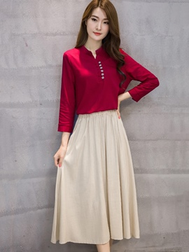Ericdress V-Neck Button Pleated Expansion Skirt Suit
