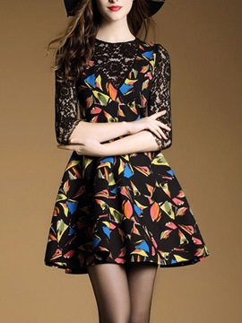 Ericdress Lace Patchwork Colorful Print Pleated Casual Dress