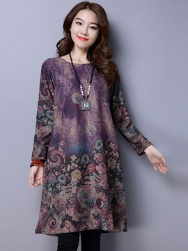 Ericdress Floral Print Round Collar Loose Knee-Length Casual Dress