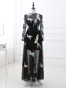 Ericdress Unique Embroidery Jewel Neck A-Line Long Sleeves Long Evening Dress