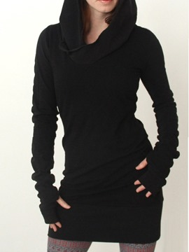 Ericdress Long Sleeve Hooded Plain Bodycon Dress