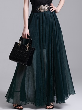 Ericdress Pleated Chiffon High-Waist Expansion Skirt
