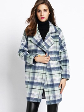 Ericdress Loose Plaid Polo European Coat