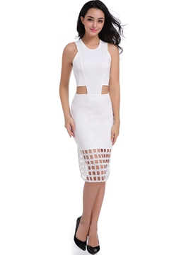 Ericdress Fashion Hollow Sleeveless Knee-Length Sheath Dress