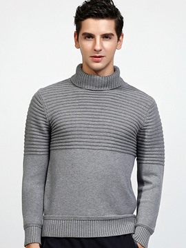 Ericdress England Style Solid Color Turtleneck Unique Warm Men's Sweater