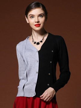 Ericdress Color Block Fashion Cardigan Knitwear