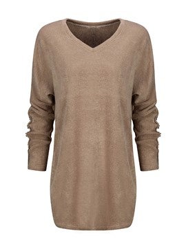 Ericdress V-Neck Solid Color Casual T-Shirt