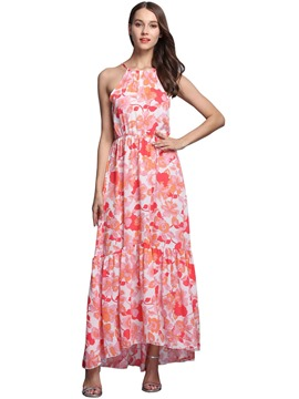 Ericdress Halter Floral Print Elastic Pleated Patchwork Maxi Dress