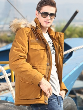 Ericdress Thicken Warm Fur Collar Big Pocket Casual Men's Coat