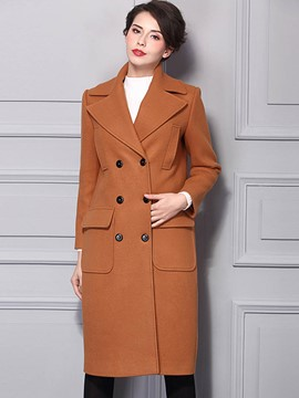 Ericdress Double-Breasted Straight Coat