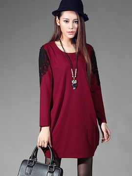 Ericdress Lace Panel Loose T-Shirt