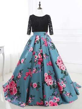 Ericdress Bateau Ball Gown Half Sleeves Lace Printed Sweep Train Quinceanera Dress