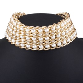 Ericdress Imitation Pearls Inlaid Alloy Choker Necklace
