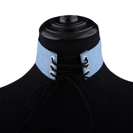 Ericdress Blue Denim Ties Design Choker Necklace