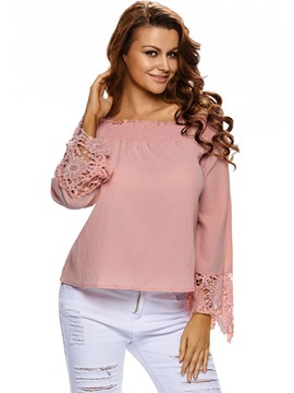 Ericdress Pink Slash Neck Crochet Blouse