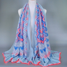 Ericdress Geometric Printed Cotton Blue Scarf