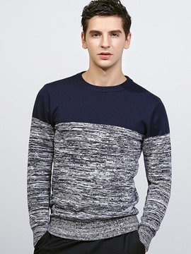 Ericdress England Style Color Block Crew Neck Men's Sweater