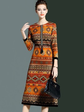 Ericdress Bohemian Print Tassel Patchwork Round Collar Sheath Dress