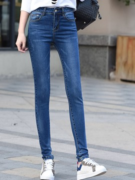 Ericdress High-Waist Zipper Washable Pencil Skinny Jeans