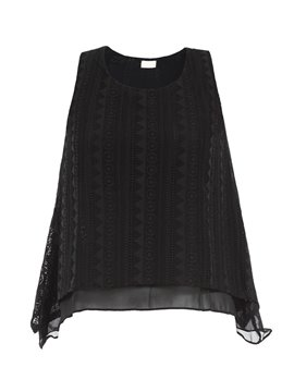 Ericdress Black Double Layer Loose Blouse