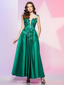 Ericdress Fancy A Line Scoop Neck Applique Ankle Length Prom Dress