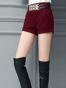 Ericdress Plain Color High-Waist Elastics Slim Shorts Pants