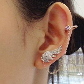 Ericdress Angel's Wing Diamante Chain Design Ear Cuff