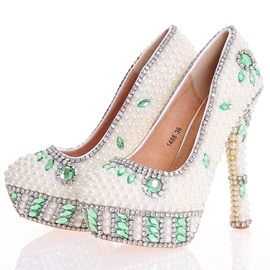 Ericdress White Beads Ultra-High Heel Wedding Shoes