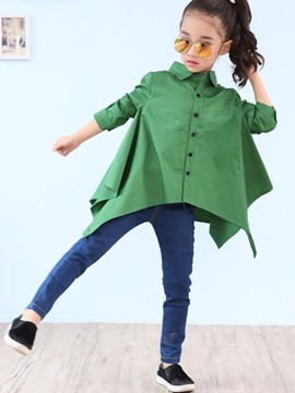 Ericdress Asymmetrical Plain Long Sleeve Girls Shirt