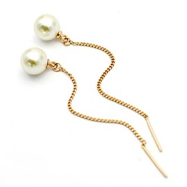 Ericdress Simple Pearl Design Long Alloy Earrings